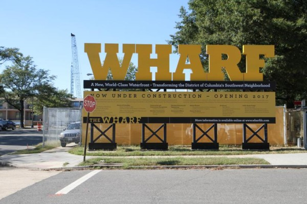 Wharf project sign