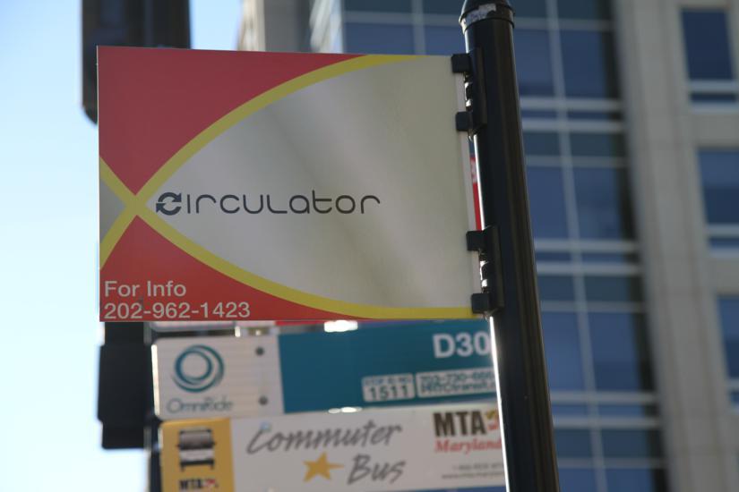 Circulator bus stop sign