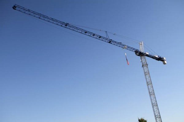 Construction crane on a blue sky