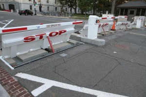 Street barricades near Capitol