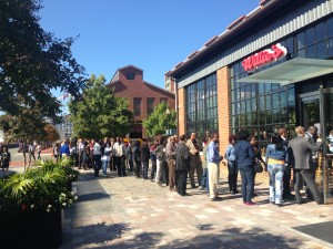 The line outside Willie's Brew & Que on Friday, Oct. 17, 2014