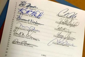 "Council signatures on ""Books From Birth"" bill (Photo via Twitter/Anne Phelps)"