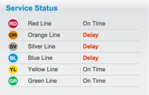 Metro delays, Jan. 7, 2014, 10 a.m. (Image via WMATA.com)