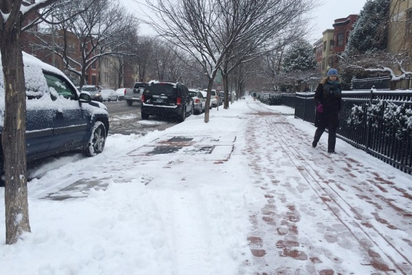 Volha Roshchanka walks down East Capitol Street after dropping her daughter off at school (Photo by Jessica Estepa)
