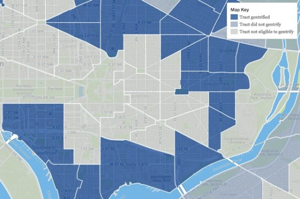 Census tracts in blue have gentrified since 2000, according to Governing's analysis (Image via Governing)