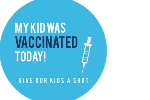 Vaccination sticker for kids (Photo courtesy of Katy and Peter Keesey)