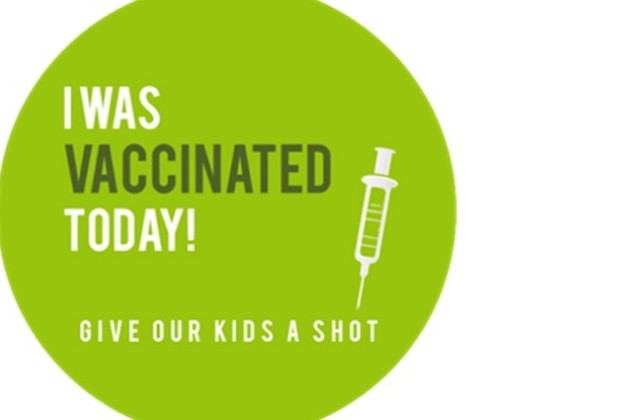 Vaccination sticker for parents (Photo courtesy of Katy and Peter Keesey)