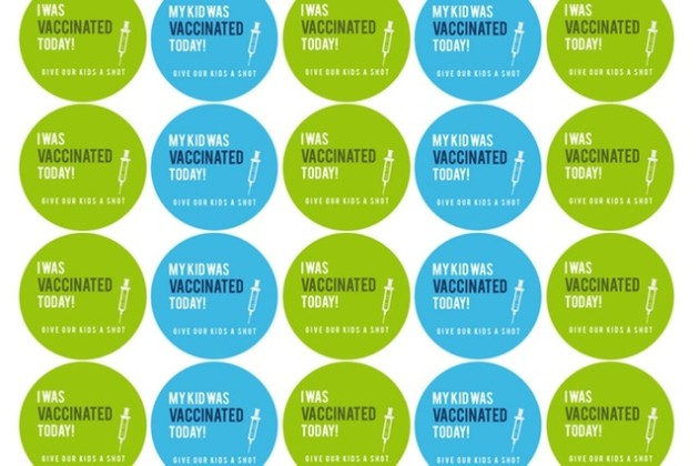 Vaccination stickers (Image courtesy of Katy and Peter Keesey)