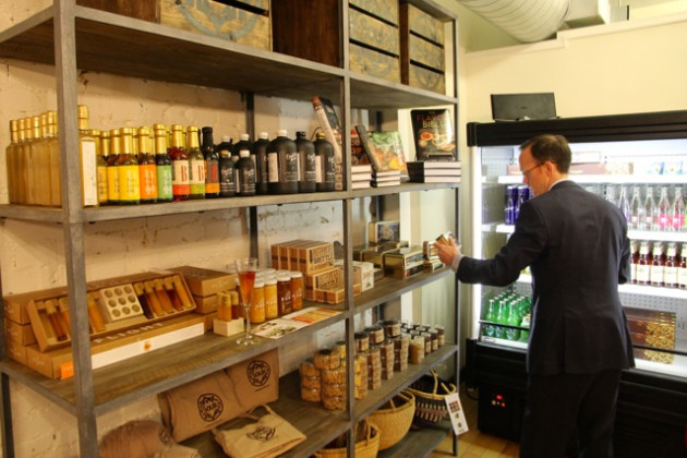 A small selection of gourmet groceries like honey and soda will be sold