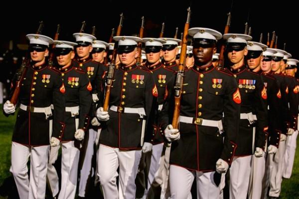 Marines at Friday Evening Parade (Photo via Facebook/Marine Barracks)