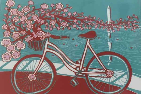 """Bicycle Bloom"" art by Annie Riker (Image via Facebook/BicycleSPACE)"