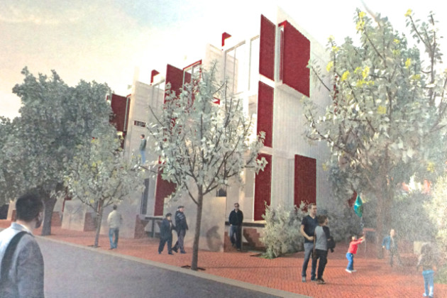 Front of shipping container homes proposed for the 1600 block of Kramer Street NE (Photo via Travis Price Architects)