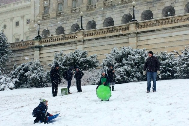Sledders on West Lawn of the Capitol building