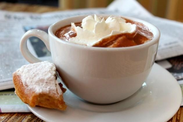Beignet and hot chocolate  (Photo via via Facebook/Bayou Bakery)