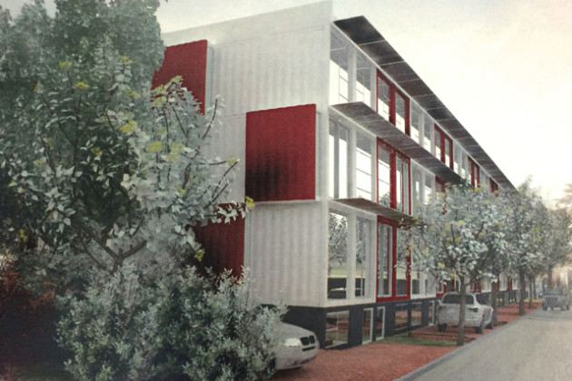 Back of shipping container homes proposed for the 1600 block of Kramer Street NE (Photo via Travis Price Architects)