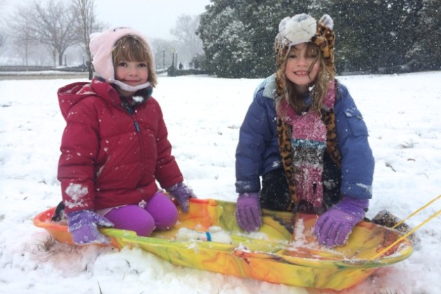 Molly and Claire McKeon on their sled