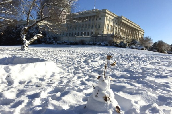 Snowman on U.S. Capitol grounds, March 6, 2015
