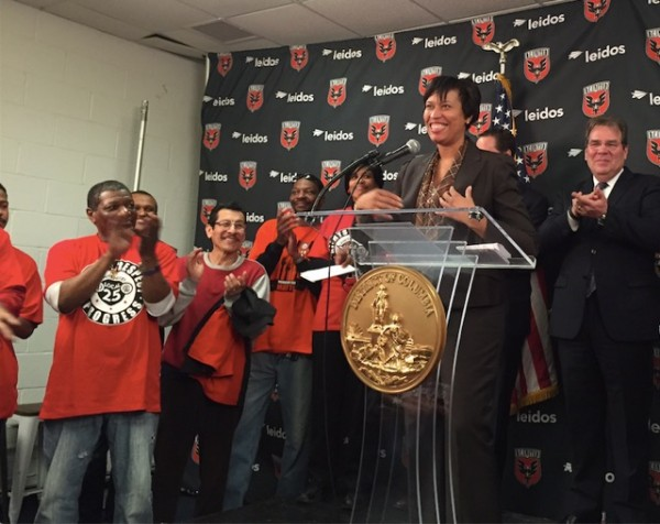 D.C. Mayor Muriel Bowser announces D.C. United labor agreement on March 10, 2015.