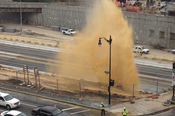 Water main break near I-395 and 3rd Street NW (Photo via Twitter/D.C. Water)