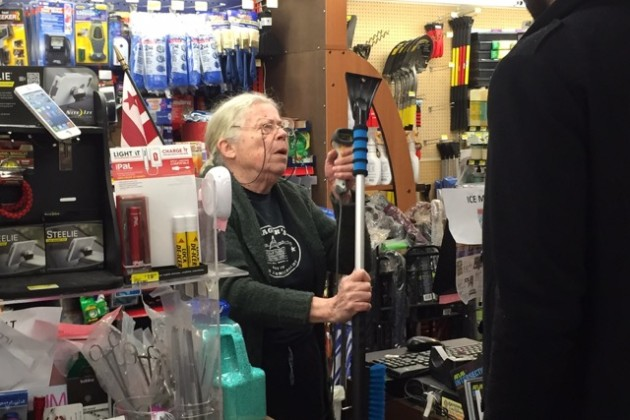 Frager's Hardware cashier Barbara Dever rings up a scraper at the shop.