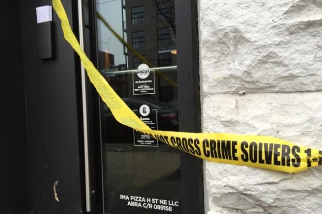 Crime scene outside H &pizza, March 4, 2015