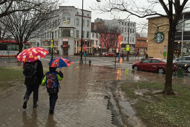 Rain, umbrellas near the Eastern Market Metro station, March 20, 2015