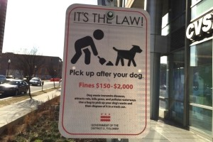 D.C. dog waste removal sign