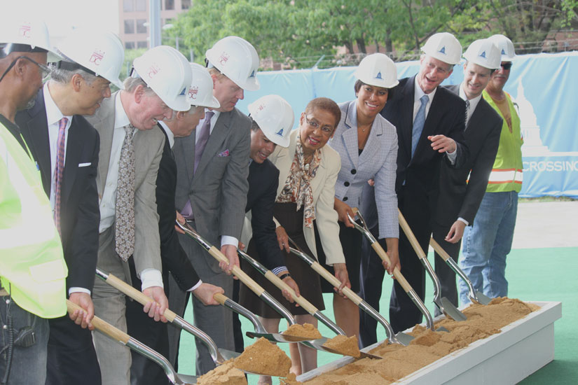 Del. Eleanor Holmes Norton, Mayor Muriel Bowser, Councilman Charles Allen and others help break ground at Capitol Crossing