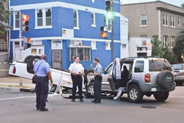 A crash involving a stolen Jeep and a D.C. government vehicle in Hill East