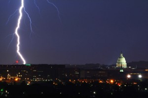 Lightning strike near U.S. Capitol (Photo via Wikimedia/U.S. Air Force)