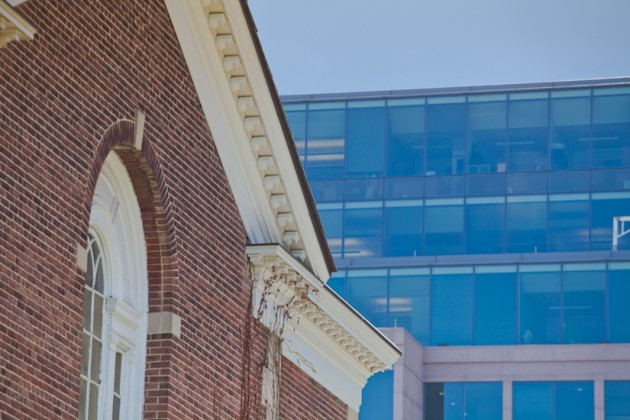 Historic brick contrasts with glass and steel of Capitol Hill