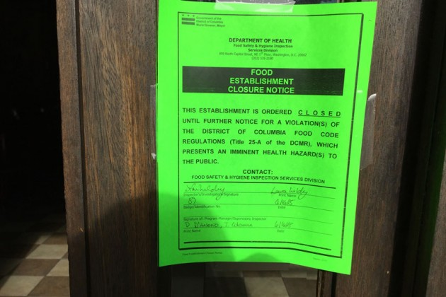 Capitol Hill Tandoor & Grill notice