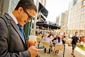NoMa cellphone user (Photo via the NoMa Business Improvement District)