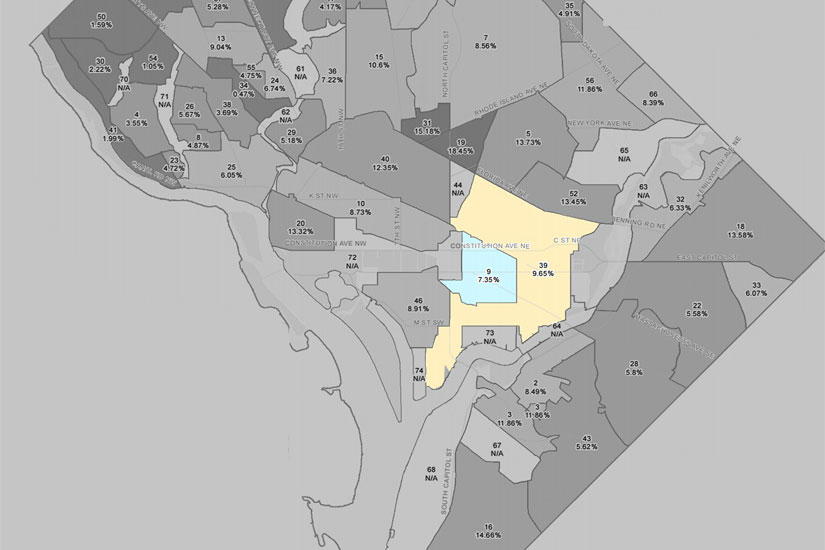 Neighborhoods tax assessors plan to visit (Image via D.C. Office of Tax and Revenue)