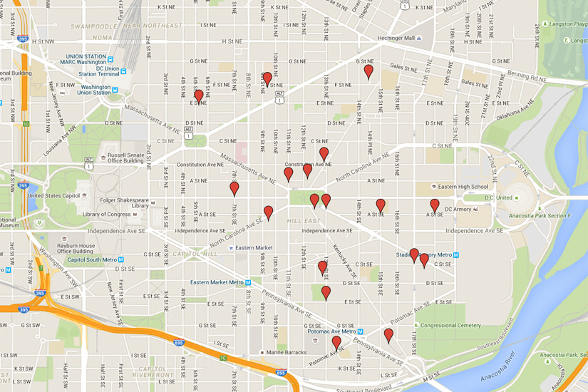 Little library locations (Image via Google Maps)