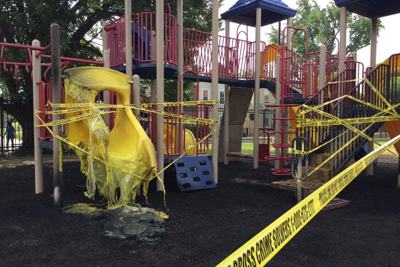 Miner Elementary School playground fire