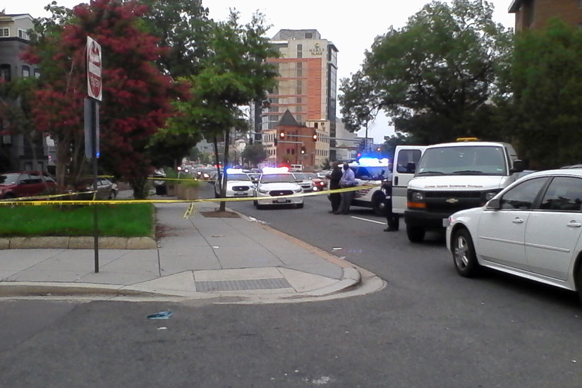 Unit block of New York Avenue NW crime scene on July 5, 2015