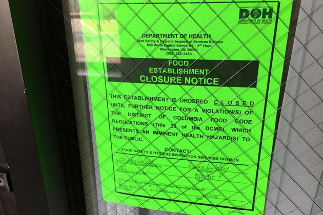 Hunan Dynasty's closure notice from the D.C. Department of Health