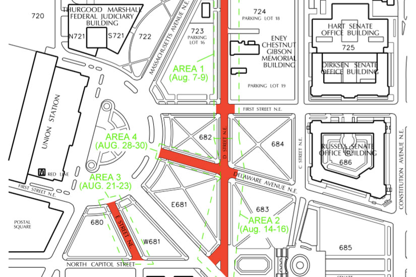 Map of street closures near Union Station (Image via AlertDC)