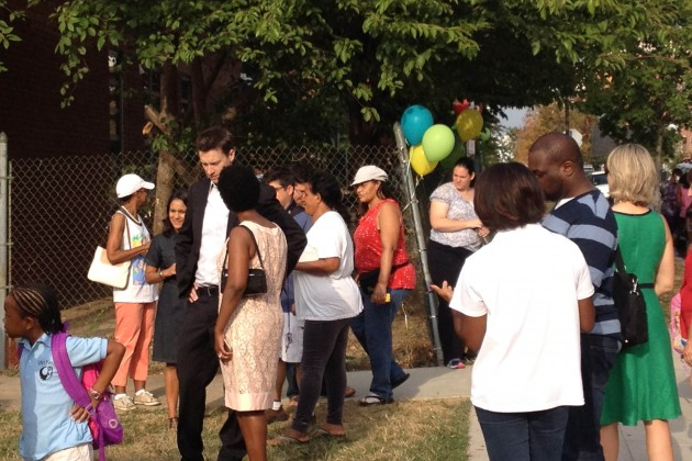 Ward 6 Councilman Charles Allen meets with teachers and parents at the grand opening of Van Ness Elementary.