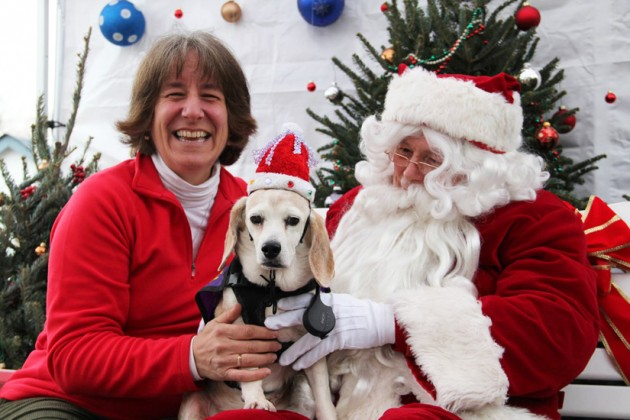 Sandy and Pat visit Santa at Frager's Hardware.