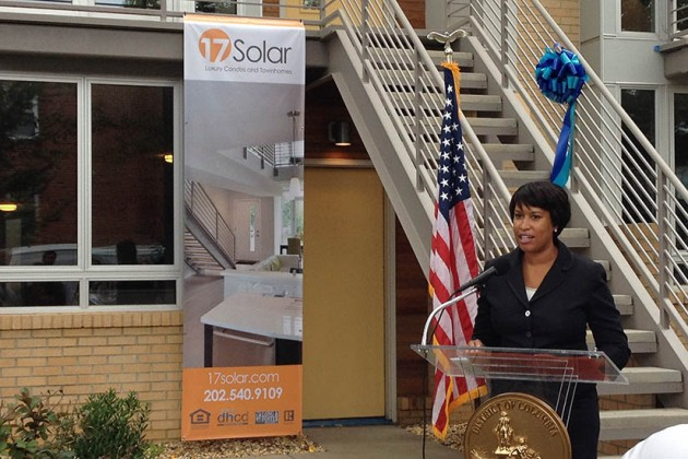 Mayor Muriel Bowser speaks at the ribbon-cutting ceremony for 17 Solar.