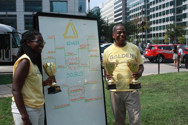 Councilman Vincent Orange and Councilwoman LaRuby May pose with their trophies after the tournament.