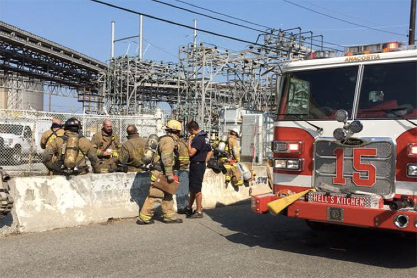 Pepco substation fire in Southwest on Sept. 1, 2015 (Photo via Twitter/DC Fire and EMS)
