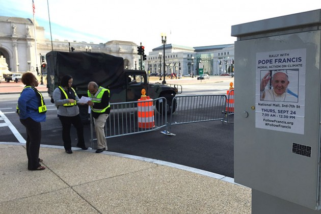 A National Guard truck keeps watch near Union Station.