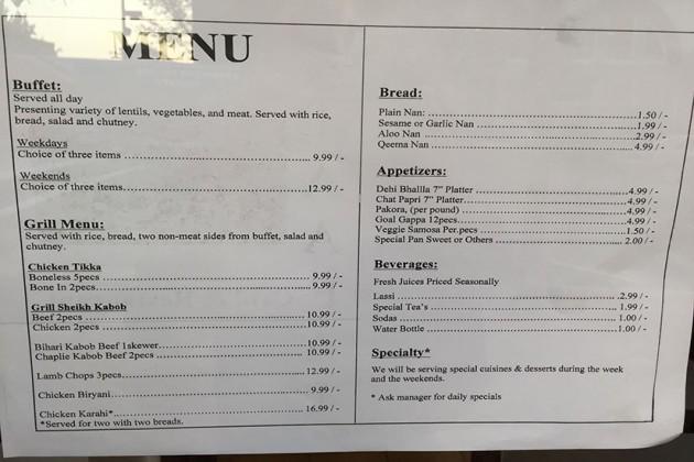 Ziaafat Grill & Restaurant menu