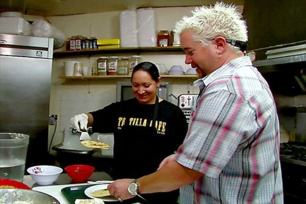 Guy Fieri at Tortilla Cafe (Photo via Food Network)