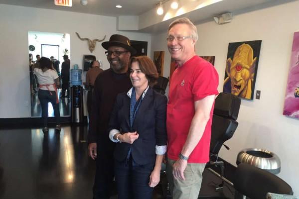 CHeh, Nnamdi and Sherwood at Fatty's Tattoos and Piercings (Photo via Twitter/ The Kojo Nnamdi Show)