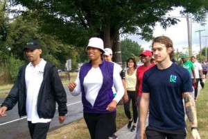 Mayor Bowser on Ward 6 Fitness Walk (Photo via Facebook/ FitDC)