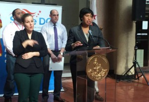 Mayor Bowser at a press conference (Photo via Twitter/ Mayor Muriel Bowser)